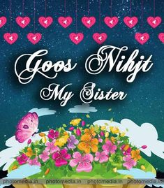 Good Night Image For Sister Good Night Greetings, Good Night Messages, Night Wishes, Love Your Sister, Cute Sister, Good Night Sister, Day For Night, Beautiful Good Night Images, Good Morning Images