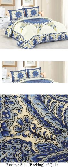 Quilts Bedspreads and Coverlets 175749: Laura Mae 3 Pc Full Queen Quilt Bedding Set-Vintage Star Flower Floral Pattern -> BUY IT NOW ONLY: $84.97 on eBay!