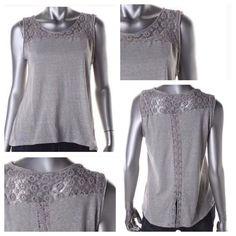 ☀️Summer Sale! - Gray Slub Crochet Trim Top NWT Pink Rose New Gray Slub Crochet Trim Pullover Top Shirt Juniors Tops Tank Tops