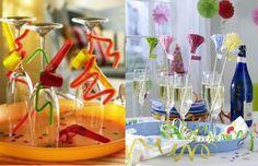 Taças podem ser o destaque da sua festa ao serem decoradas com apitos, arames coloridos e serpentinas. Uma ideia divertida para um bom drink!
