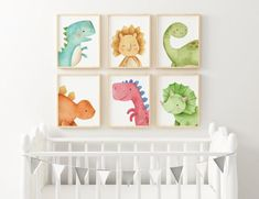Animal Wall Decor for Nursery Nursery Wall Decor, Nursery Prints, Nursery Art, Nursery Ideas, Nursery Bedding, Dinosaur Nursery, Dinosaur Art, Dinosaur Prints, Frog Nursery
