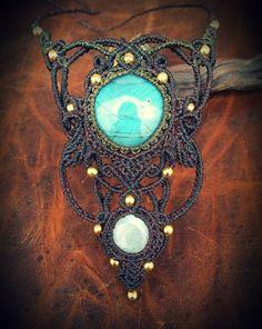 Macrame necklace with Labradorite Rainbow by EarthBoundMacrame