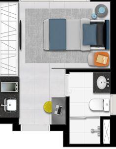 A construtora Vitacon vai lançar um empreendimento com apartamentos de 14m² no bairro do Bom Retiro, em São Paulo. Esta imagem mostra a planta do apartamento, em que cabem cama, armário, pia, mesa e banheiro. Clique nas imagens acima e veja mais detalhes do empreendimento