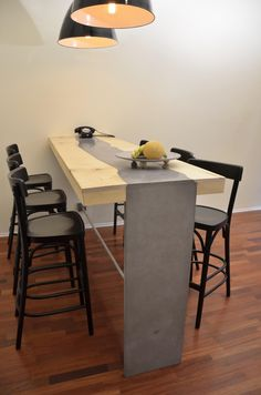 concrete-wood dining table by MOHA desgin Concrete Wood, Concrete Design, Conference Room, Dining Table, Furniture, Home Decor, Decoration Home, Room Decor, Dinner Table