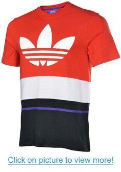 Adidas Originals Men's Art Blocked Trefoil T-Shirt-Red/White/Black
