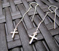 Cross Earrings,  Ear threads, Silver Cross, Delicate Cross Earrings, Scripture Inspired, Confirmation, Religious Jewelry, Christian Jewelry