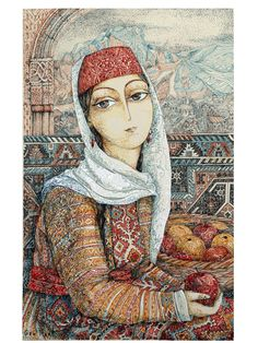 Painting of Armenian girl in Traditional costume.