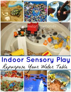 Indoor Water Table Play Ideas Repurposed Sensory Play  Hands-On Learning and Play All Year Long Awesome indoor water table sensory play is at your fingertips! When the weather gets too cold for all the great outdoor sensory play you have been doing, don't pack your water table up for ...