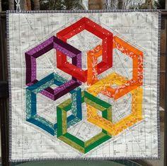 Sew Fantastic: Rainbow Hexadaisey mini quilt