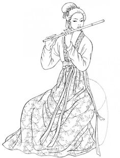 Tang Dynasty. This musician performs for a formal occasion at the palace. Her high-waisted full skirt is tied with a long, flowing sash. Ornaments and a bow decorate her hair.