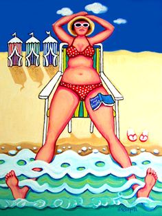 Funny Woman Beach Huts Seashore Coastal Glicee Print by korpita