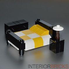 LEGO Furniture: Bedroom Set w/ Bed, Nightstand & Dresser (Yellow)