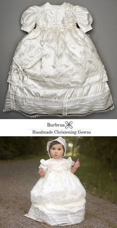 Handmade Christening Gown for baby Girl, Perfect baptism or dedication dress, matching shoes and bonnet are included with the Gown Christening Gowns For Girls, Baby Baptism, Baptism Outfit, Baptism Dress, Christening Outfit, Baby Girls, Baby Girl Quilts, Heirloom Sewing, Cute Baby Clothes
