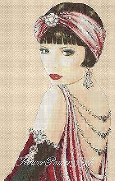 Cross stitch chart  Art Deco Lady 1c   FlowerPower37-UK FREE UK P&P