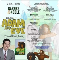 will be sold at Barnes and Noble and author Josh Martin will be visiting several locations to meet you and sign books! Eve Book, Adam And Eve, Book Signing, Town And Country, Preston, Texas, Author, Meet, Memories