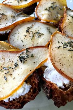 Roasted Honey Pear Crostini - Reluctant Entertainer