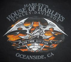 HARLEY DAVIDSON Motorcycle T-Shirt * OCEANSIDE CA * Vtg BLACK Mens USA : Lg