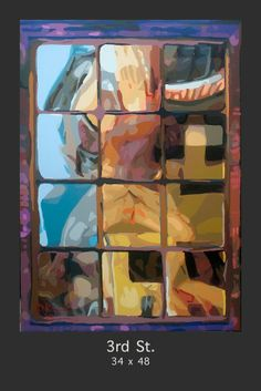 """What goes on behind those windows on """"3rd St.""""....this reflective painted work is by San Francisco artist Donald Rizzo, and is part of his highly popular """"A Gay Life"""" series.  Each painting is Acrylic on Hand stretched canvas, and can be purchased at www.Donald-rizzo.com."""