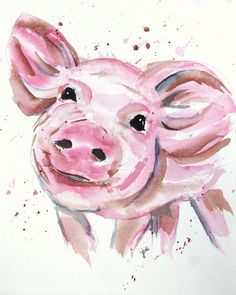 Precious Pink Pig Watercolor 8x10 140lb Saunders Cold Press - art - painting - whimsy - whimsical - Children's Book - silly rhymes