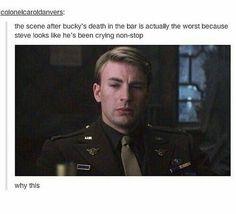 Captain America (MCU) - Steve Rogers x Bucky Barnes - Stucky crying Marvel Jokes, Marvel Funny, Marvel Universe, Fandoms, Marvel Dc, Marvel Gems, All Avengers, Avengers Quotes, Avengers Imagines