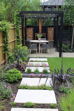 Small Courtyard Gardens, Small Courtyards, Backyard Patio Designs, Pergola Patio, Concrete Slab Patio, Sandstone Paving, Outdoor Rooms, Outdoor Decor, Back Garden Design