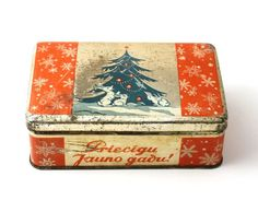 Red tin box, vintage new year tin box, christmas red tin, made in Soviet Union, USSR: