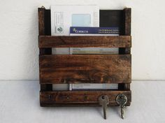 Rustic wooden mail holder and key rack / wooden by RegalosRusticos, $27.00