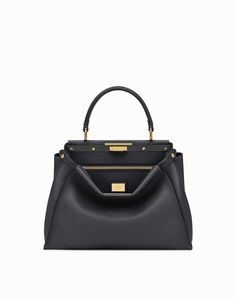 a426252c2e22 FENDI PEEKABOO REGULAR - handbag in black leather - view 1 detail Luxury  Handbags