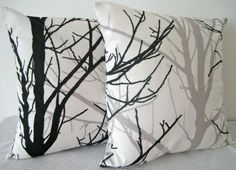 Two Black and White Forest Cushion Covers, contemporary designer fabric slip covers, throw pillows, decorative cushions, accent pillows by Mia