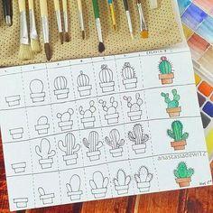 Kaktusse stap vir stap. bullet journal doodles