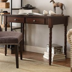 Kingstown Home Aiden Writing Desk with Helix Legs & Reviews   Wayfair