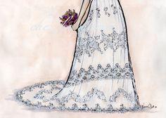 custom bridal illustration by chez la mariée