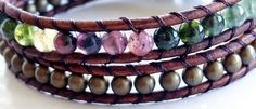 October Birthstone - Tourmaline. Watermelon Tourmaline and Brass Brown Leather Beaded Bracelet