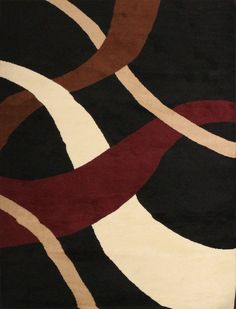 Generations Brand New Contemporary Black Modern Wavy Circles Area Rug 7'10 x 10'5