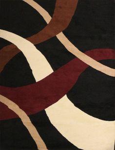 Generations Brand New Contemporary Black Modern Wavy Circles Area Rug 7'10 x 10'5