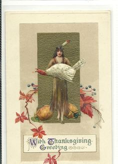 THANKSGIVING POSTCARDl;  Indian; white turkey:     Winsch/Schmucker (publisher/artist)