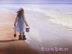 girl art print beach combing little girl seascape by lewfoster