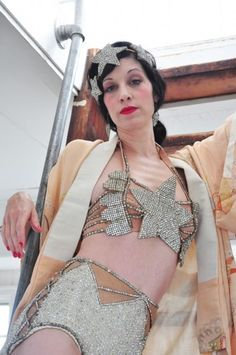 Sarah Sofie Flicker of the Citizens Band Cabaret and her collection of vintage showgirl costumes via Tales of Endearment