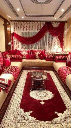 salon marocain moderne orange rouge | Salon | Pinterest | Salons ...