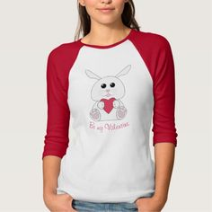 Cute Kawaii White bunny Valentines Hearts Be mine 3/4 Raglan sleeve T-shirt by #PLdesign #ValentinesDay #ValentinesGift