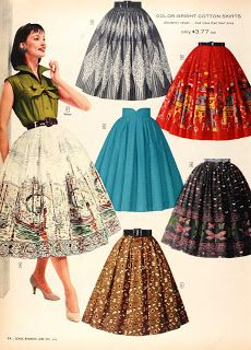 Sears 1950's skirts...Pair any of these with some pumps and a starched white blouse. Collar popped of course.
