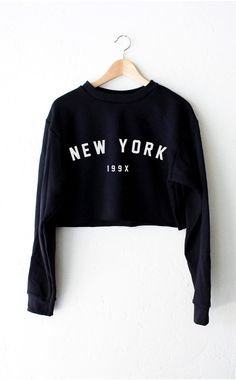 New York 199x Oversized Cropped Sweater - Black from NYCT Clothing. Shop more products from NYCT Clothing on Wanelo.