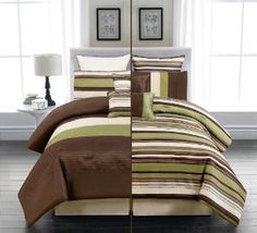 Amazon.com - 7 PC REVERSIBLE MODERN GREEN / BROWN /BEIGE COMFORTER SET / BED IN BAG - KING SIZE BEDDING