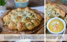 Brötchen mit Lauch und Parmesan dazu eine Ofengemüse Suppe mit Lauch, Möhren und Parmesan