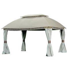 Sunjoy Beige Steel Rectangle Gazebo (Exterior: 9.79-ft x 13.08-ft; Foundation: 9.79-ft x 13.08-ft)
