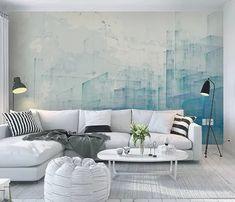 Living room - Tulegatan 22 - Eklund Stockholm New York Navy Bathroom Decor, Sofa, Couch, Living Room, Interior Design, Architecture, Wallpaper, Prints, Stockholm