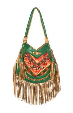 golden green boho bag