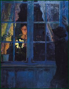 """huariqueje: """"In the Light of the Lamp - Eyolf Soot 1885 Norwegian painter """" Nocturne, Illustrations, Illustration Art, A4 Poster, Poster Prints, Window View, Victorian Art, Vintage Artwork, Art Themes"""