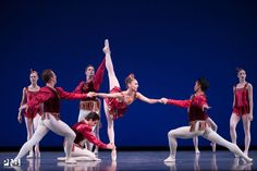 PNB's Laura Tisserand with Ezra Thomson, Ryan Cardea, Raphael Bouchard, Eric Hipolito, Emma Love Suddarth, Chelsea Adomaitis in 'Rubies' from Balanchine's 'Jewels'