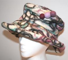 White and purple felted wool hat